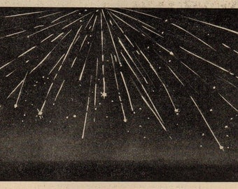 1912 Radiant Points of an Iluvia Meteor, 599 Vintage Space Astronomy Print