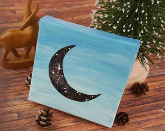 4x4 Acrylic Day Sky Moon Painting | FREE US shipping | Galaxy | Universe | Night Sky | Celestial Art Gift | Small Mini Canvas Moon Painting