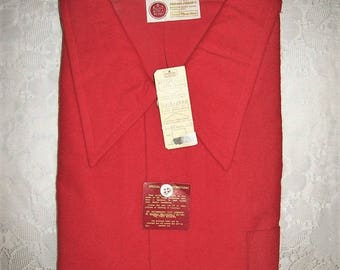 "Vintage 1960s Men's Red Flannel Shirt Kings Road for Sears Men's Store XL 18"" Neck NOS Only 18 USD"