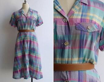 Vintage 80's Rainbow Madras Plaid Cotton Shirt Dress S or M