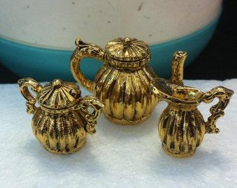 Tea Set, 18k Gold plated Metal, 6 Pieces, Miniature Tea Service