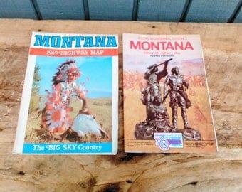 Vintage Montana Highway Maps Road Maps Vintage Maps Antique Maps