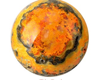 Gorgeous 64 mm BUMBLEBEE Jasper Sphere + Stand Yellow Orange Black Indonesia Healing Crystals and Stones Polished Eclipse #SB03