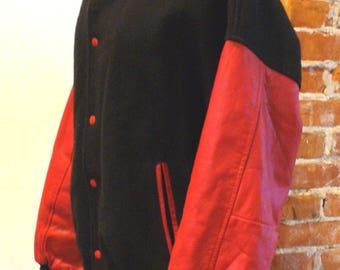 Vintage Leather & Wool Varsity Letterman Jacket XL