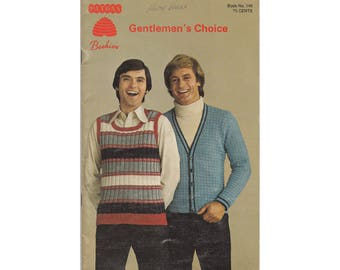 Mens Sweaters Patons Book 146 Gentlemen's Choice Vintage 1970s Knitting Pattern Booklet Menswear Vests Cardigan Pullovers Gift For Him