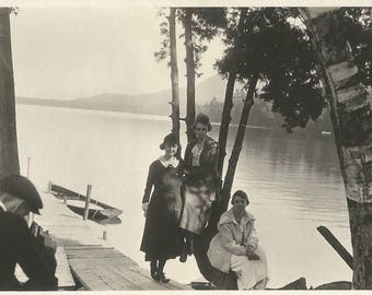 "Vintage Photo ""Adirondack Photographer"" Mountain Lake Accordion Camera Found Vernacular Photo Dock Rowboat"