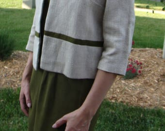 vintage 1960's 3-piece SKIRT SHELL SET matching jacket olive green 29 waist M