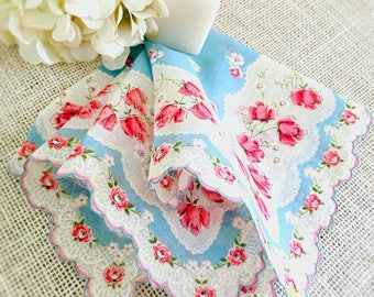 Vintage Ladies Handkerchief, Rosebuds, Printed Flower Design, Wedding Hankie, Roses, Blue, Pink, Farmhouse Style, Bride's Hanky 14""