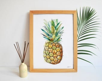 PINEAPPLE A4 Giclée Print - illustration art painting drawing tropical fruit lifestyle home decor quirky wall modern gift kitchen textures