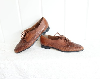 Vintage Chestnut Brown Made in Brazil Woven LACE UP Oxfords Huarache Mexican Sandals Shoes Sneakers Flats 6 6.5