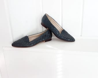 Navy Woven COMFY  Blue Enzo Angiolini 1980s 1990s Flats Leather 8 N  Brazil 7.5 Summer Shoes