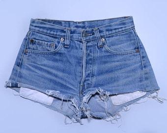 Vintage Levis Redline Shorts 501 Black Bar Indigo Denim Cut off Jean Shorts W 27