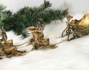 """Vintage Santa Sleigh and 4 Reindeer in Brass  / 14"""" Long / Flying Reindeer / With Original Box"""