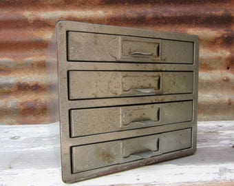 Vintage Metal Cabinet Industrial Parts Cabinet Small Organizer Bin 4 Gray 1940s-60s Era Crafting Storage Beads Small Items Etc. Home Office