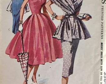"Vintage 1956 McCall's Misses' Cocktail Wiggle Dress Stole Pattern 3564 Size 14 (32"" Bust)"