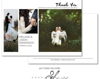 Thank You Cards, Photoshop Templates, Wedding Thank You Cards, Photography Templates, THC108, INSTANT DOWNLOAD