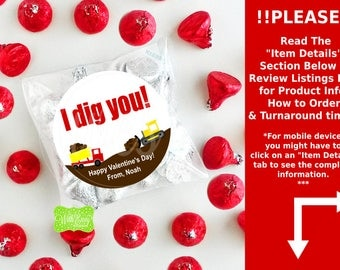 Construction Valentine Stickers - I Dig You Stickers - Valentines Day Sticker - Valentine Stickers - DIY Emailed File or Shipped Stickers