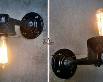 Wall Light. Cast iron Sconce. Industrial. Steampunk. Edison. Single bulb.