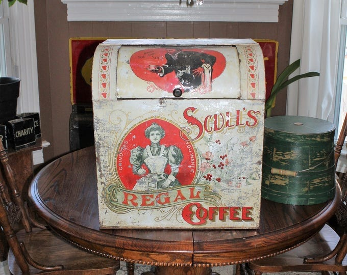 Huge Antique Scull's Regal Coffee Tin General Store Display Bin