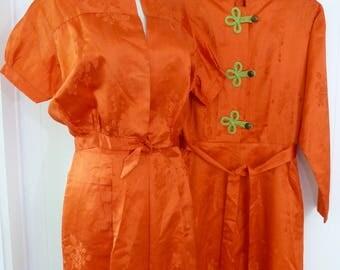 40's Asian Lounge Set 3 Piece Jacket Top Pants Orange Chinese Silk Pajamas Loungewear Cloisonne Buttons M