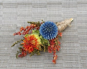 Dried Flower Boutonniere Flowers For Wedding Orange and Blue Flowers
