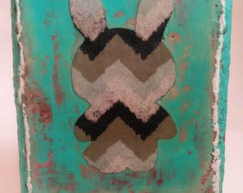 Good Bunny - encaustic, mixed media on 8 x 10 inch of wood