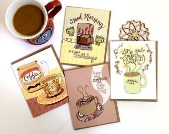 Coffee Cards Set of 8 - coffee lover, coffee greeting cards, coffee stationery, coffee mugs, coffee gift