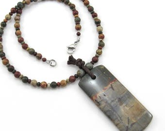 Red Creek Jasper Semi-Precious Gemstone Beaded Necklace, Large Picturesque Stone Pendant, Man's Necklace, Woman's Necklace, Unisex Jewelry