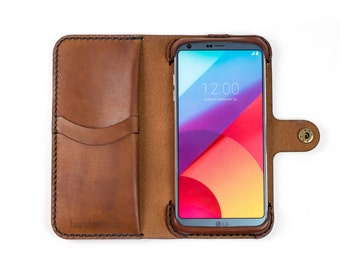 LG G6 Wallet Phone Case, leather phone case for LG G6, personalized phone case, handmade LG G6 case, custom lg g6 phone case, leather lg g6
