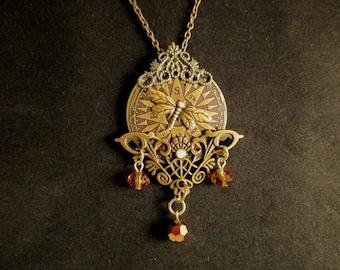 Steampunk Bronze Compass Necklace