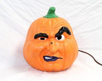 Halloween Pumpkin Face - Light-up Pumpkin Head - Vintage 1988