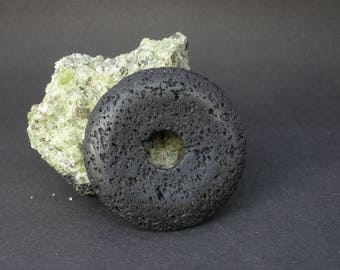 5 - 10 - 15 Pcs Natural Black Lava 45mm Donut / 5 - 10 - 15 Pcs Liquidation / Close Out Prices - Lot of 5 or 10 or 15 Pc - By Whole Lot Only
