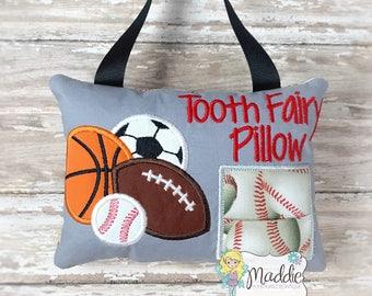 Personalized Boys Tooth Fairy Pillow Embroidered, Sports Tooth Fairy Pillow, Keepsake Pillow, Soccer, Football, Baseball, Basketball