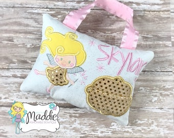 Girls Tooth Fairy Pillow, Personalized, Embroidered, Princess Tooth Fairy Pillow, Keepsake Pillow, Tooth Fairy Pillow Girl, Birthday Gift