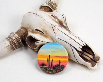 StudioStJames Rustic Handcrafted Polymer Clay Focal 30mm Pendant Cabochon Bead-Saguaro Sunset-Southwestern Theme-PA 100728