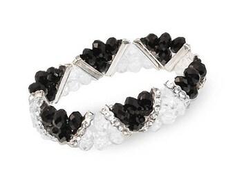 Beaded Bracelet, Crystal Beads, Black Bracelet, Expandable, Art Deco Bracelet, Plastic Faceted Beads, Clear Bracelet