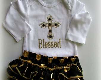 Girl Black Gold BLESSED baptism christening outfit Newborn TAKE HOME outfit Baby Girl coming home outfit Mothers Day Gift Girl Shower gift