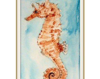 Sale! Now 50% Off! Seahorse Watercolor Painting Print 5 x 8