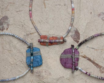 Short tribal necklace, twig necklace, mixed media jewelry, clay necklace, ethnic jewelry, blue, orange, purple OOAK
