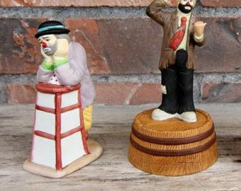 Set of 2 Emmett Kelly Clowns with Boxes - Collectible Clown Figures - Musical - Emmett Kelly Jr. Hobo Clowns - By Flambro - Vintage Clowns