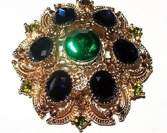 "Blue Green Rhinestone Brooch Signed Sylvia Layered Domed Gold Metal 2"" Vintage"
