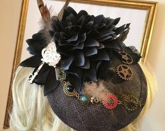 Feather flower key bee steampunk inspired grey unique tilt hat fascinator Maison de Cantern