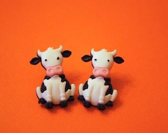 Cow Earrings -- Cow Studs, Bull Earrings, Bull Studs, Longhorn Studs
