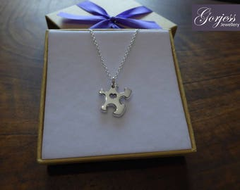 Miniature Puzzle Piece (Thick) with Heart Silver Pendant Necklace