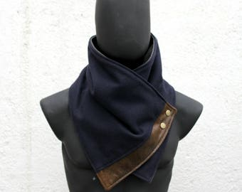 Mens and Womens Scarf.Unisex Cowl,Comfy & warm, Navy blue wool and faux suede,metallic snaps.Classy and chic,Mens winter. Husband gift.