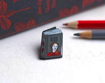 Book Pin Charlotte Bronte Enamel Pin Jane Eyre Enamel Pin Badge Book Enamel Pin Book Worm Author