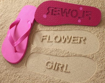 Flower Girl Flip Flops Personalized Bridesmaid Wedding Bridal *check size chart before ordering*