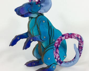 Turquoise & Purple Articulated Rat
