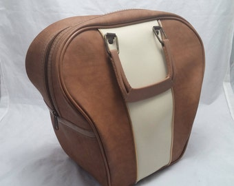 Vintage Bowling Ball Faux Leather Naugahyde Case - Tan and Cream Color with Tan Piping