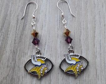 NFL Minnesota Vikings Earrings with Purple and Gold Charms - Dangle Drop Earrings - Football SKOL Vikings